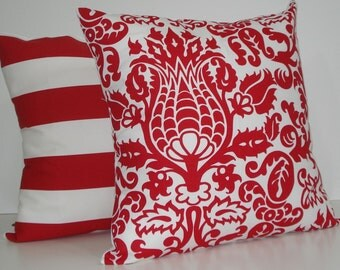 TWO New 18x18 inch Designer Handmade Pillow Cases in red and white