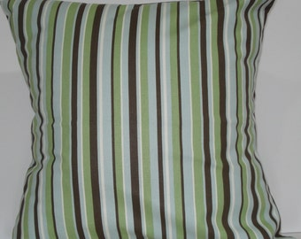 New 18x18 inch Designer Handmade Pillow Cases in green, blue, brown and white stripe