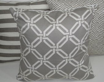 THREE New 18x18 inch Designer Handmade Pillow Cases in grey