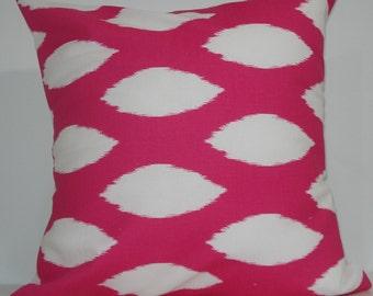New 18x18 inch Designer Handmade Pillow Cases in pink ikat