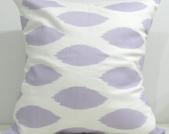 New 18x18 inch Designer Handmade Pillow Cases in lavender ikat
