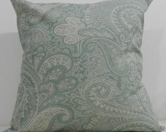 New 18x18 inch Designer Handmade Pillow Case. Eaton blue paisley on linen color fabric.