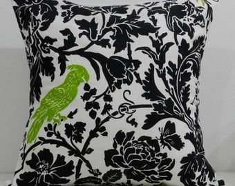 New 18x18 inch Designer Handmade Pillow Case. Black floral with green bird.