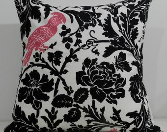 New 18x18 inch Designer Handmade Pillow Case. Black floral with pink bird.