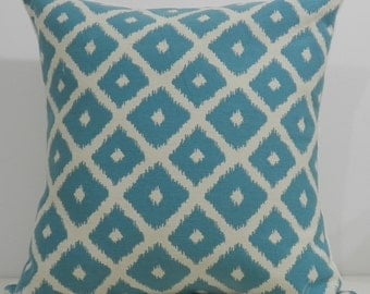 New 18x18 inch Designer Handmade Pillow Cases in aqua and cream ikat pattern