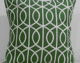 New 18x18 inch Designer Handmade Pillow Case. Dwell Studio. Green link, lattice.