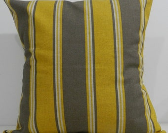 New 18x18 inch Designer Handmade Pillow Case in yellow, kelp and natural stripe.
