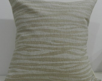New 18x18 inch Designer Handmade Pillow Cases. white and Taupe wave pattern.