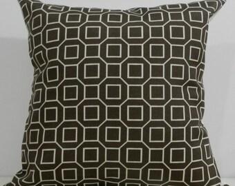 New 18x18 inch Designer Handmade Pillow Cases in chocolate and cream geometric pattern