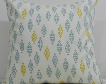 New 18x18 inch Designer Handmade Pillow Cases. blue/green, gold, and white