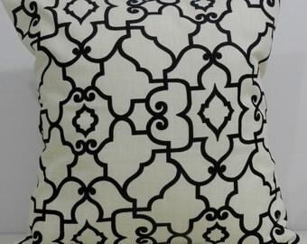 New 18x18 inch Designer Handmade Pillow Cases in black and cream trellis