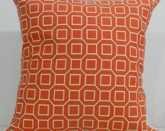 New 18x18 inch Designer Handmade Pillow Cases in red/orange geometric pattern