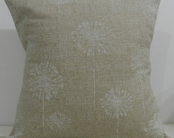 New 18x18 inch Designer Handmade Pillow Case with dandelion white blooms on a textured background