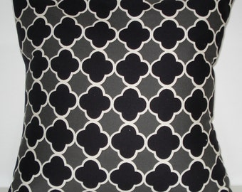 New 18x18 inch Designer Handmade Pillow Case in black and grey quatrefoil pattern.