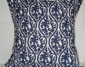 New 18x18 inch Designer Handmade Pillow Case in blue and white.