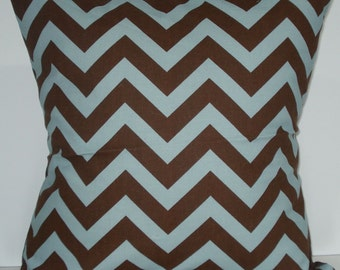 New 18x18 inch Designer Handmade Pillow Case in blue and brown zig zag chevron pattern.