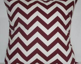 New 18x18 inch Designer Handmade Pillow Case. In maroon and white chrvron zig zag pattern.