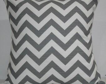 New 18x18 inch Designer Handmade Pillow Case in grey and white chevron zig zag pattern.