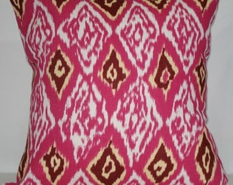 New 18x18 inch Designer Handmade Pillow Case in ikat, pink, white, maroon and yellow.
