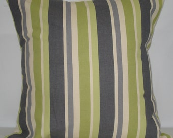 New 18x18 inch Designer Handmade Pillow Case in green, purple and lavender stripe