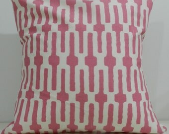 New 18x18 inch Designer Handmade Pillow Case in pink and white geometric