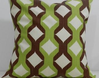 New 18x18 inch Designer Handmade Pillow Case in pistachio, brown and cream retro pattern