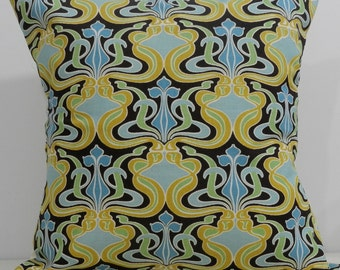 New 18x18 inch Designer Handmade Pillow Case in squash, mint and blue geometric pattern