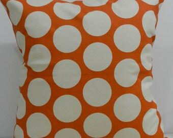 New 18x18 inch Designer Handmade Pillow Case in orange and cream large dots.
