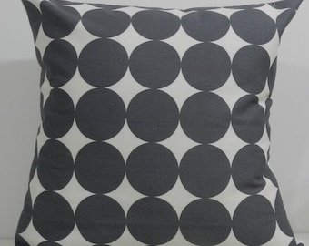 New 18x18 inch Designer Handmade Pillow Case in Dwell Studio large grey dots.