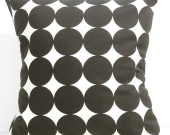 New 18x18 inch Designer Handmade Pillow Case in Dwell Studio large brown dots.