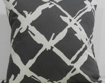 New 18x18 inch Designer Handmade Pillow Case in warm grey and cream modern lattice
