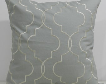 New 18x18 inch Designer Handmade Pillow Case in dusty blue with cream stitching