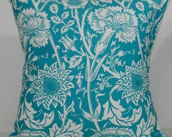 New 18x18 inch Designer Handmade Pillow Case in turquoise floral on white