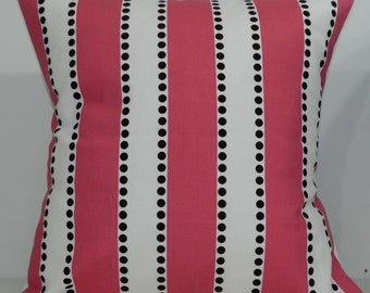 New 18x18 inch Designer Handmade Pillow Cases. wide pink stripe with black dots.