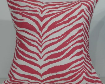 New 18x18 inch Designer Handmade Pillow Case. Zebra print in pink and white