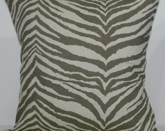 New 18x18 inch Designer Handmade Pillow Case. Zebra print in kelp and linen color fabric.