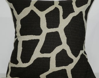 New 18x18 inch Designer Handmade Pillow Case in Giraffe dark drown on natural colored textured fabric.