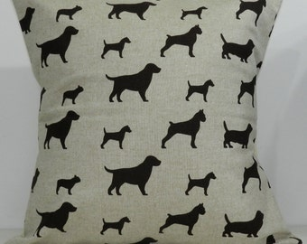New 18x18 inch Designer Handmade Pillow Case in brown and linen dogs.