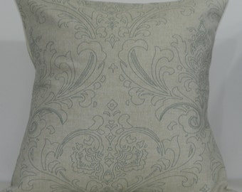 New 18x18 inch Designer Handmade Pillow Case. Large damask in eaton blue on linen color fabric.