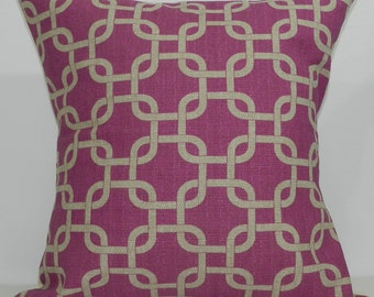 New 18x18 inch Designer Handmade Pillow Case in fuschia and taupe lattice