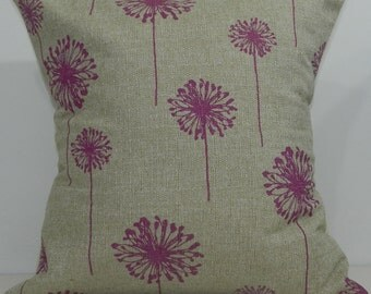 New 18x18 inch Designer Handmade Pillow Case in fuschia and taupe dandelion