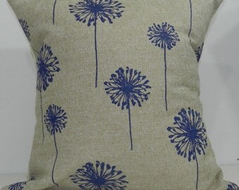 New 18x18 inch Designer Handmade Pillow Case in peacock and taupe dandelion