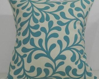 New 18x18 inch Designer Handmade Pillow Cases in aqua and cream