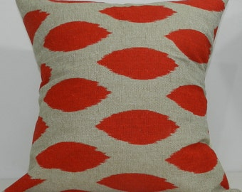 New 18x18 inch Designer Handmade Pillow Case in bright red and taupe ikat
