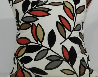 New 18x18 inch Designer Handmade Pillow Case red, brown, grey and black leaves on cream