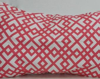2 New 20x29 inch Designer Handmade Pillow Cases in pink geometric on white.
