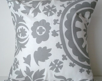 New 18x18 inch Designer Handmade Pillow Case. Suzani print in grey and white