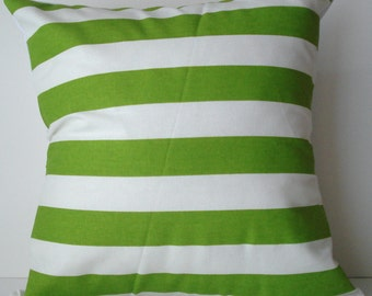 New 18x18 inch Designer Handmade Pillow Case. lime and white stripe