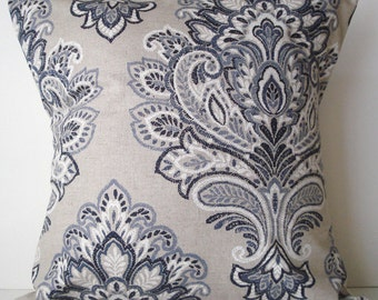 New 18x18 inch Designer Handmade Pillow Case in blues and white damask