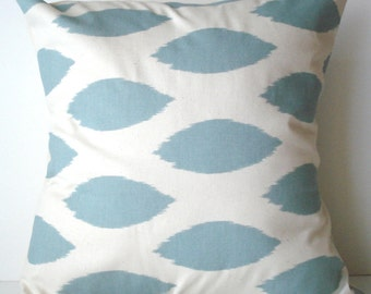 New 18x18 inch Designer Handmade Pillow Case in village blue ikat on natural color fabric